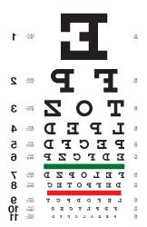 Mirror image eye chart