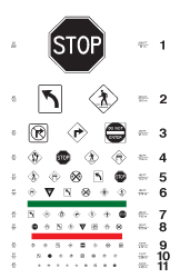 Eye chart with road signs