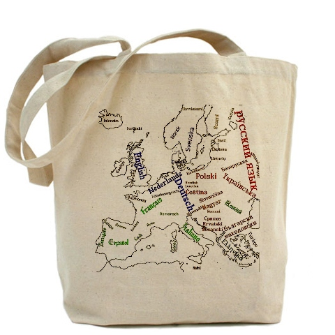 Languages of Europe tote bag